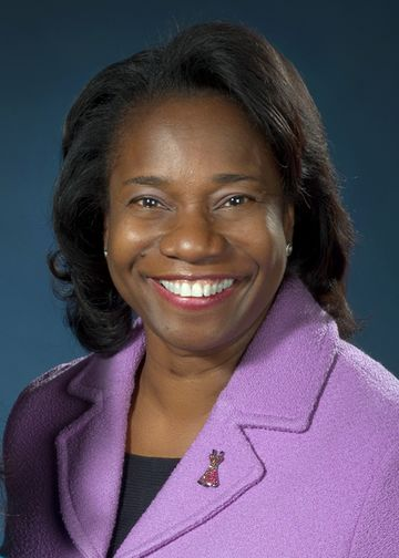 Jennifer Mieres, MD, wearing a purple jacket