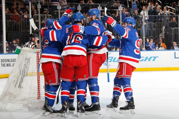 The NY Rangers celebrate a goal