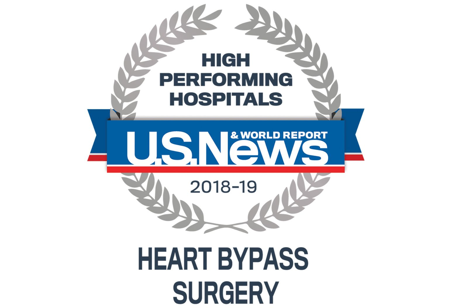 US News & World Report badges indicating high performing in heart bypass surgery
