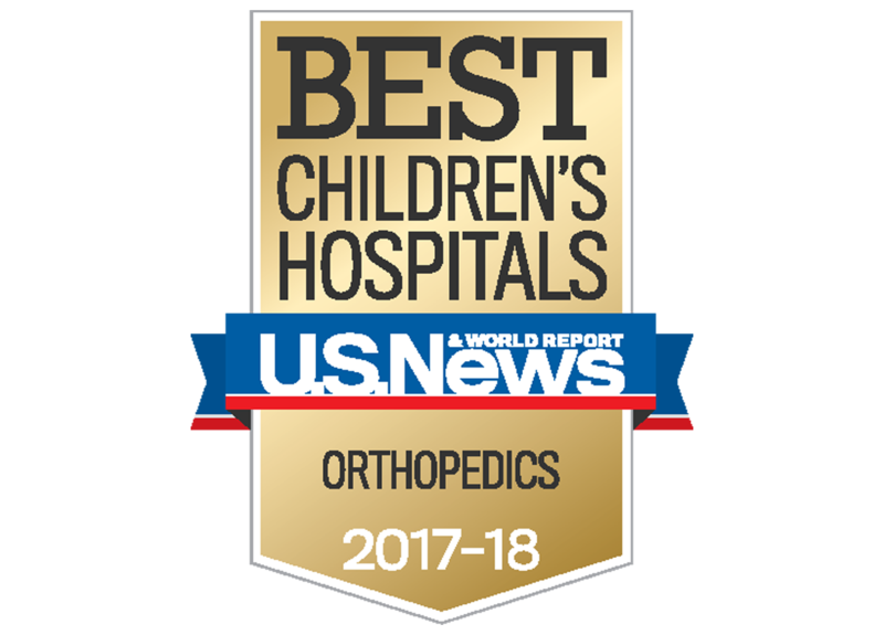This is the U.S News & World Report emblem for superior pediatric care in orthopaedics for 2017 to 2018.