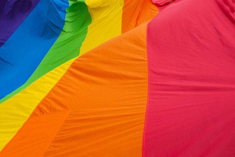 A rainbow colored flag