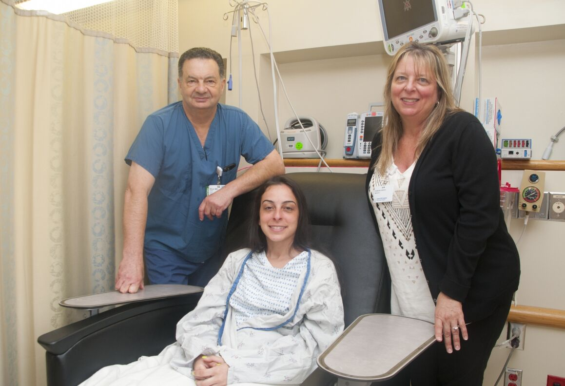 From left: Dr. Fabien Bitan, chief of spine services at Lenox Hill Hospital, with patient Joanna Lopez and her mother June before the surgery.
