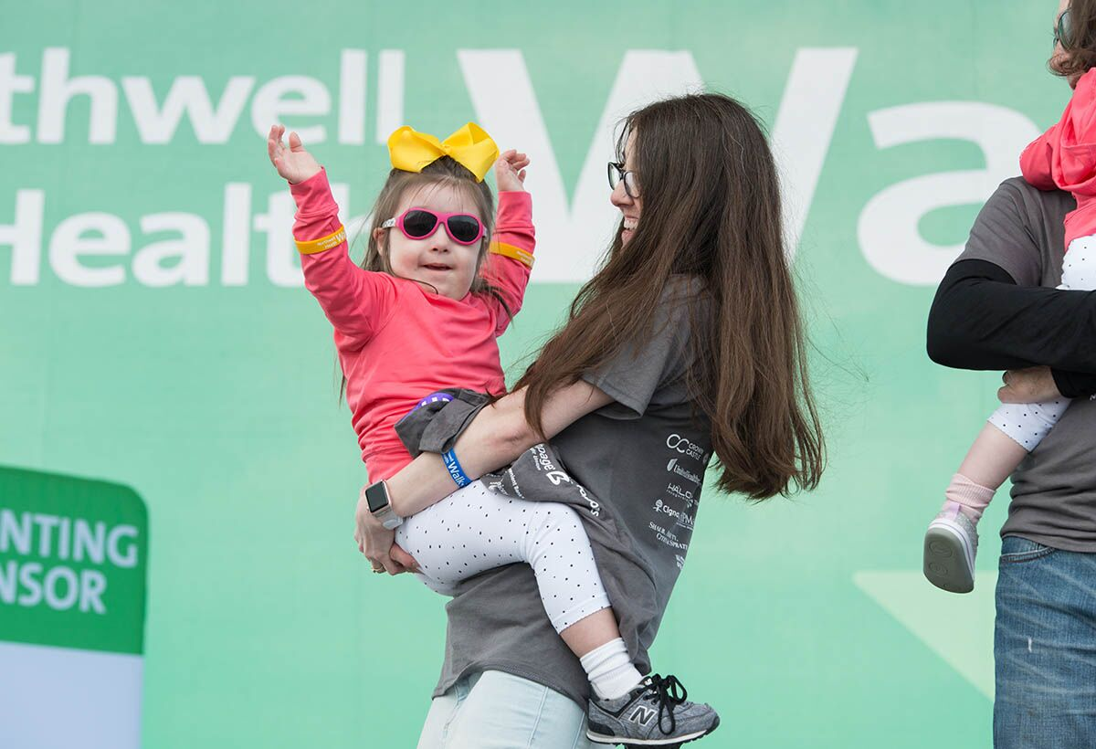 Northwell patients Kathleen and Clementine share their story with thousands of walkers at Jones Beach.