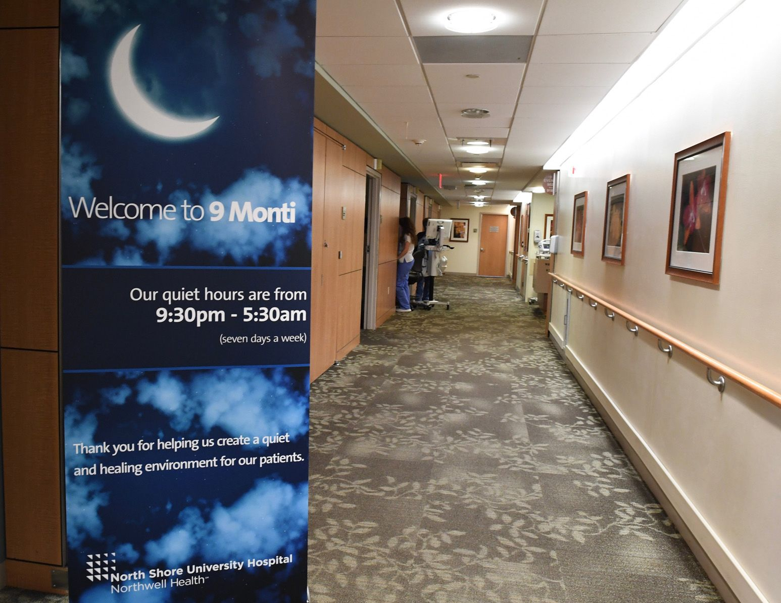 At North Shore University Hospital, signs remind visitors of hospital quiet hours that run from 9:30 p.m. to 5:30 a.m., during which voices are kept low, cell phones are silenced and nurses bundle care in order to disturb patients as little as possible.