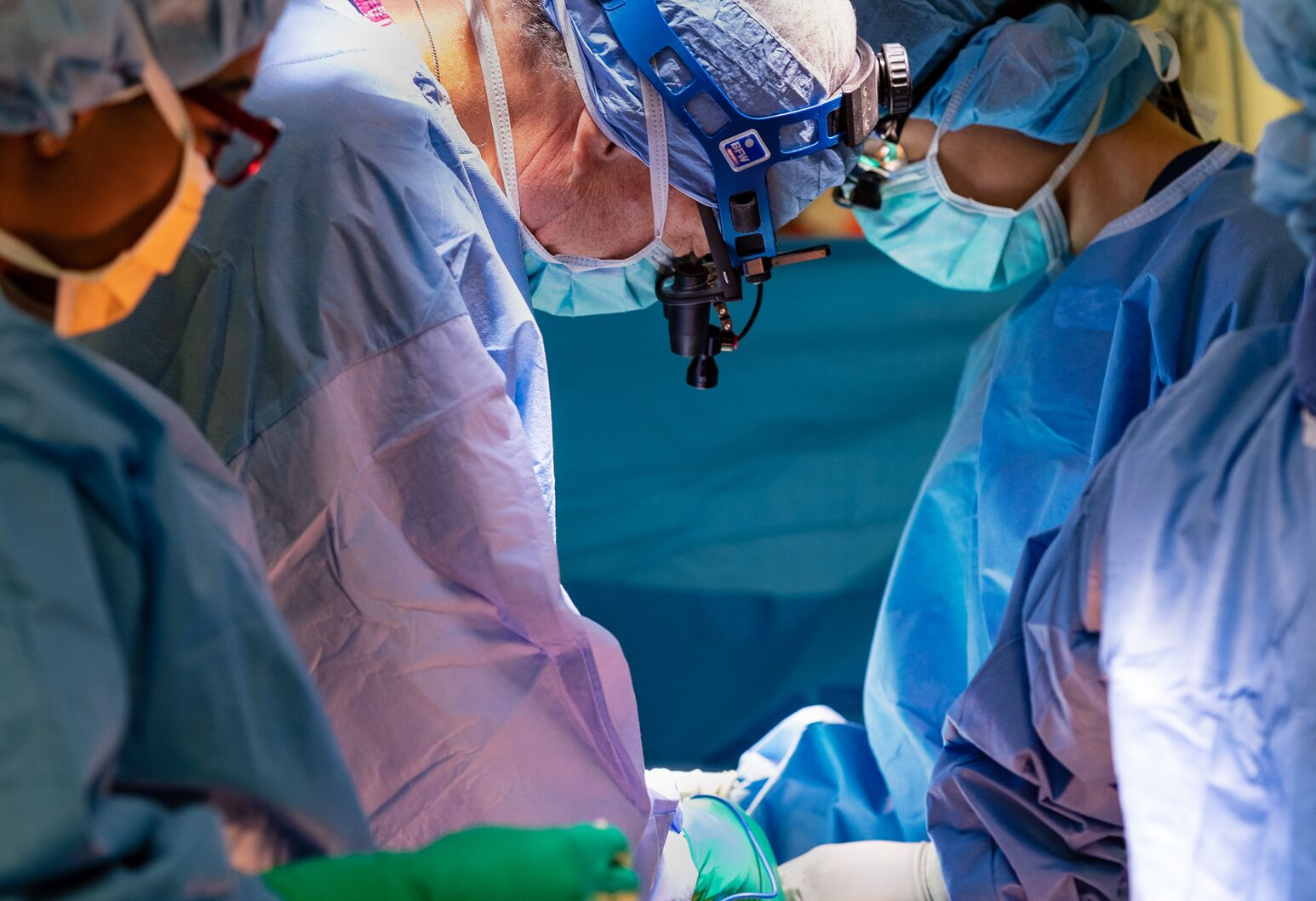 Cardiothoracic surgeon Alan Hartman, MD, leads a team in an open-heart surgery at North Shore University Hospital.