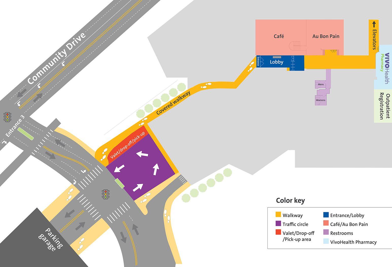 Main entrance walkway, valet, drop-off and pick-up areas at North Shore University Hospital.