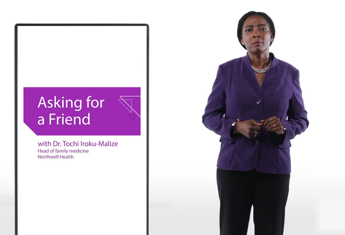 woman in purple jacket and black pants stands next to an image of a screen. The screen shows the text: Asking for a friend, with Dr.Tochi Iroku-Malize