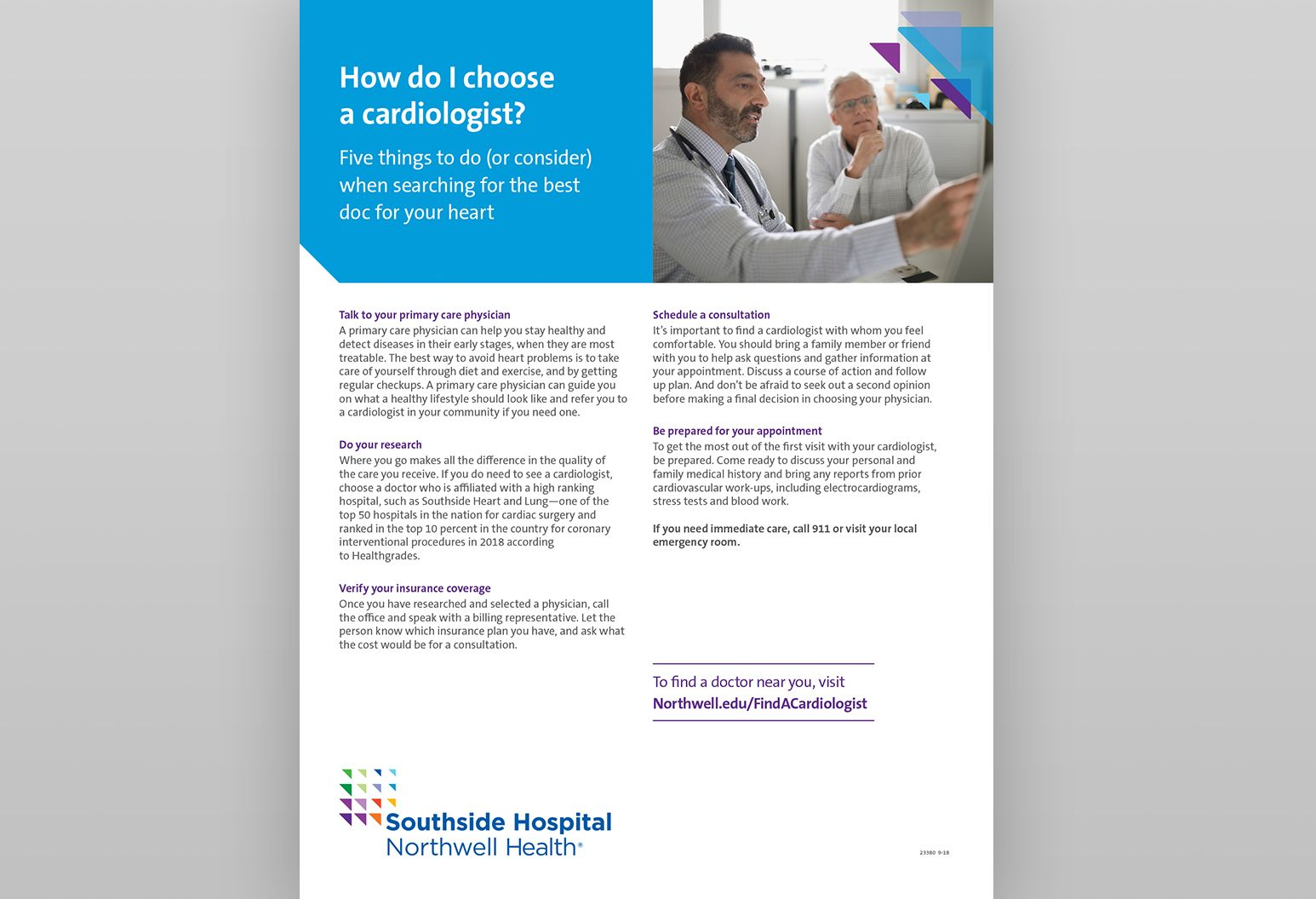 "Thumbnail of a PDF titled ""How do I choose a cardiologist?"" There is a photo of an elderly male in a clinical setting with a male doctor."