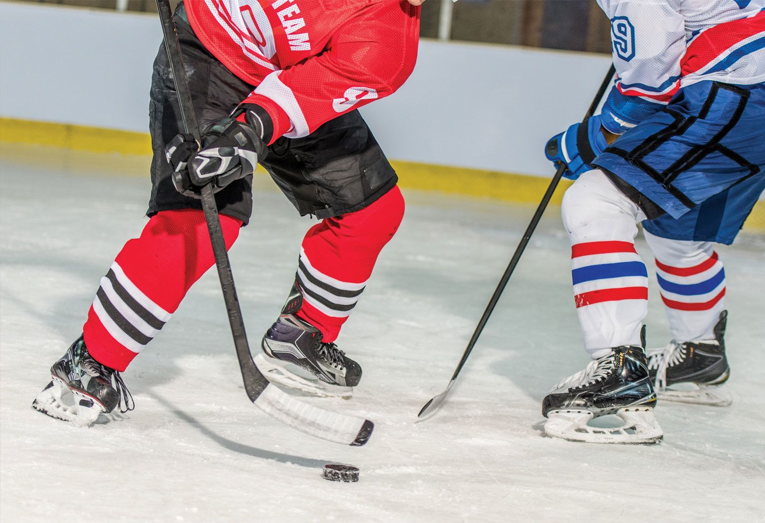 Two ice hockey players on an ice rink playing ice hockey.