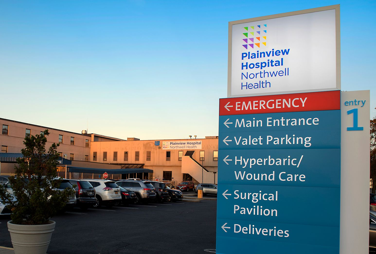 An external shot of Plainview Hospital