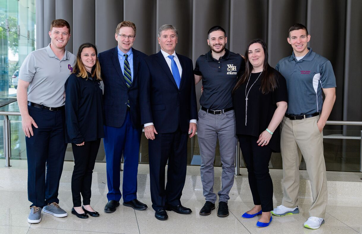 From left: Christopher Schrager, Sierra Wilde, Dr. Steven Rokito (Division Chief, Orthopaedic Surgery, Sports Medicine), Dr. Nicholas Sgaglione (Professor and Chair, Orthopaedic surgery), Calogero Curcuru, Martina Brady and Michael Gonzalez (Senior AT).