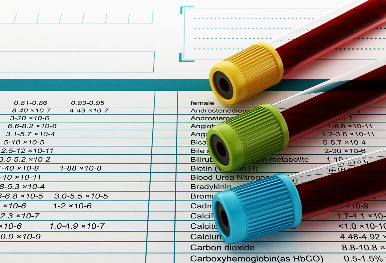 Blood test tubes with multi-colored lids standing on medical documents.