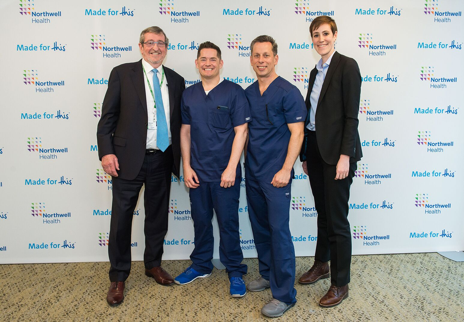From left: Northwell Health President and CEO Michael Dowling with team leaders Drs. Eric Cruzen and John D'Angelo, whose Real-Time Actionable Data is a reporting tool that gives bedside data about a hospital's emergency department. Far right: team member Sarah Healey Herod.