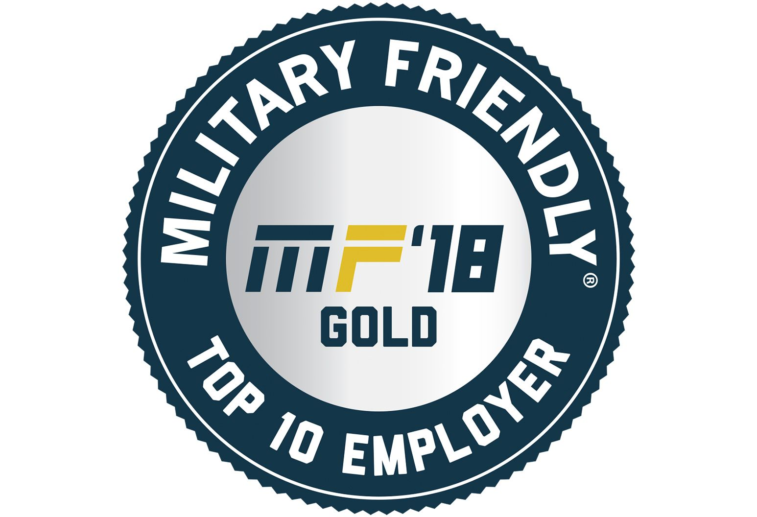 """military friendly, top 10 employer"" logo"