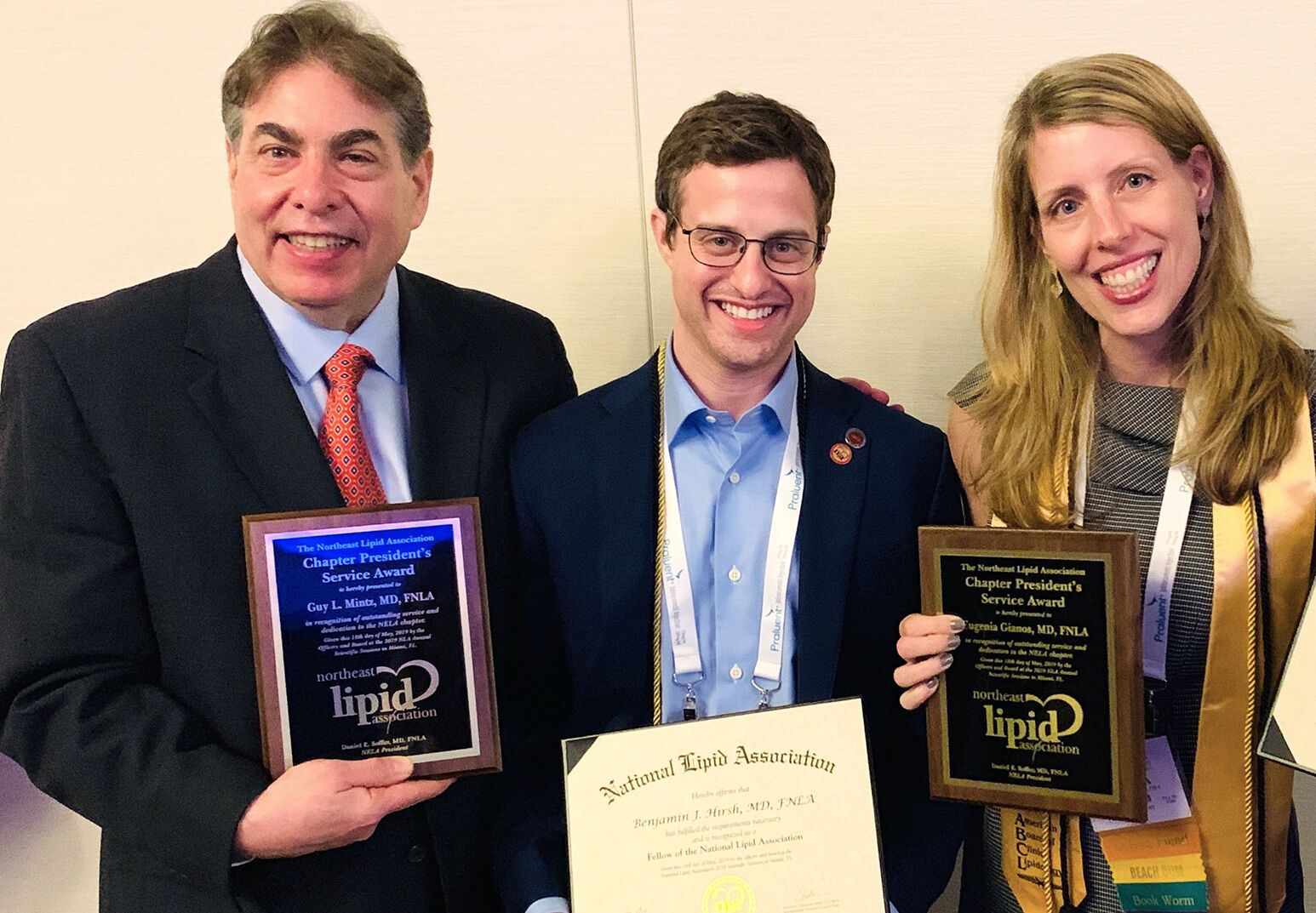 From left: Dr. Guy Mintz, Dr. Benjamin Hirsh and Dr. Eugenia Gianos received top honors from the National Lipid Association during the group's annual scientific sessions held in Miami.