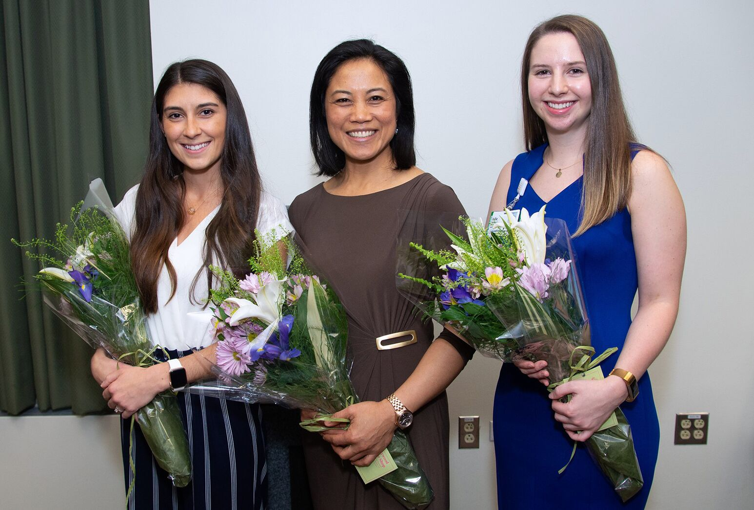 From left: Experienced Nurse Award to Carmela Bonito, RN, Cardiopulmonary Unit; Physician-Nominated Nurse Award to Haidee Mortel, RN, Intensive Care Unit; Up-and-Coming Nurse Award to Julie Rothberg, RN, Cardiopulmonary Unit.
