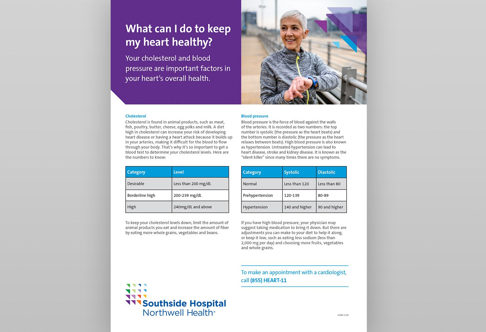 "Thumbnail of PDF titled ""What can I do to keep my heart healthy?"" There is a photo of an older lady with short gray hair in exercise clothes on a boardwalk on the PDF."