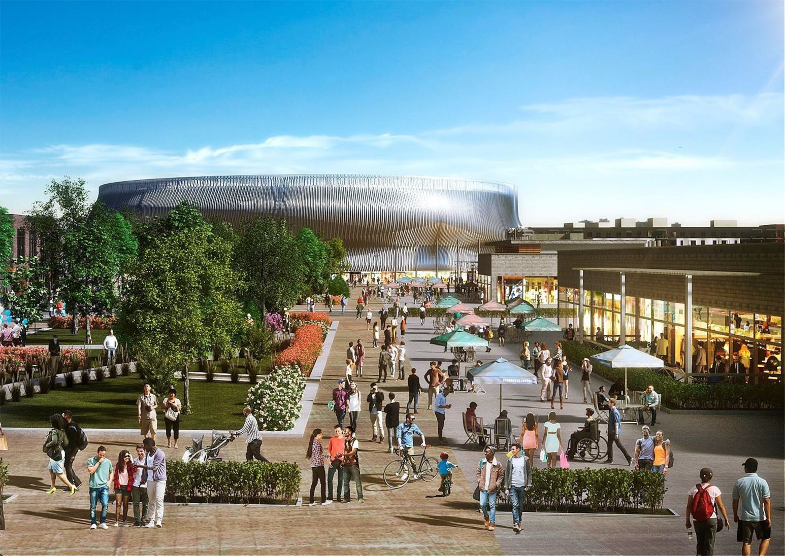 A rendering of the proposed Nassau Hub Site, which currently includes the Nassau Coliseum. Credit BSE Global/RXR Realty.
