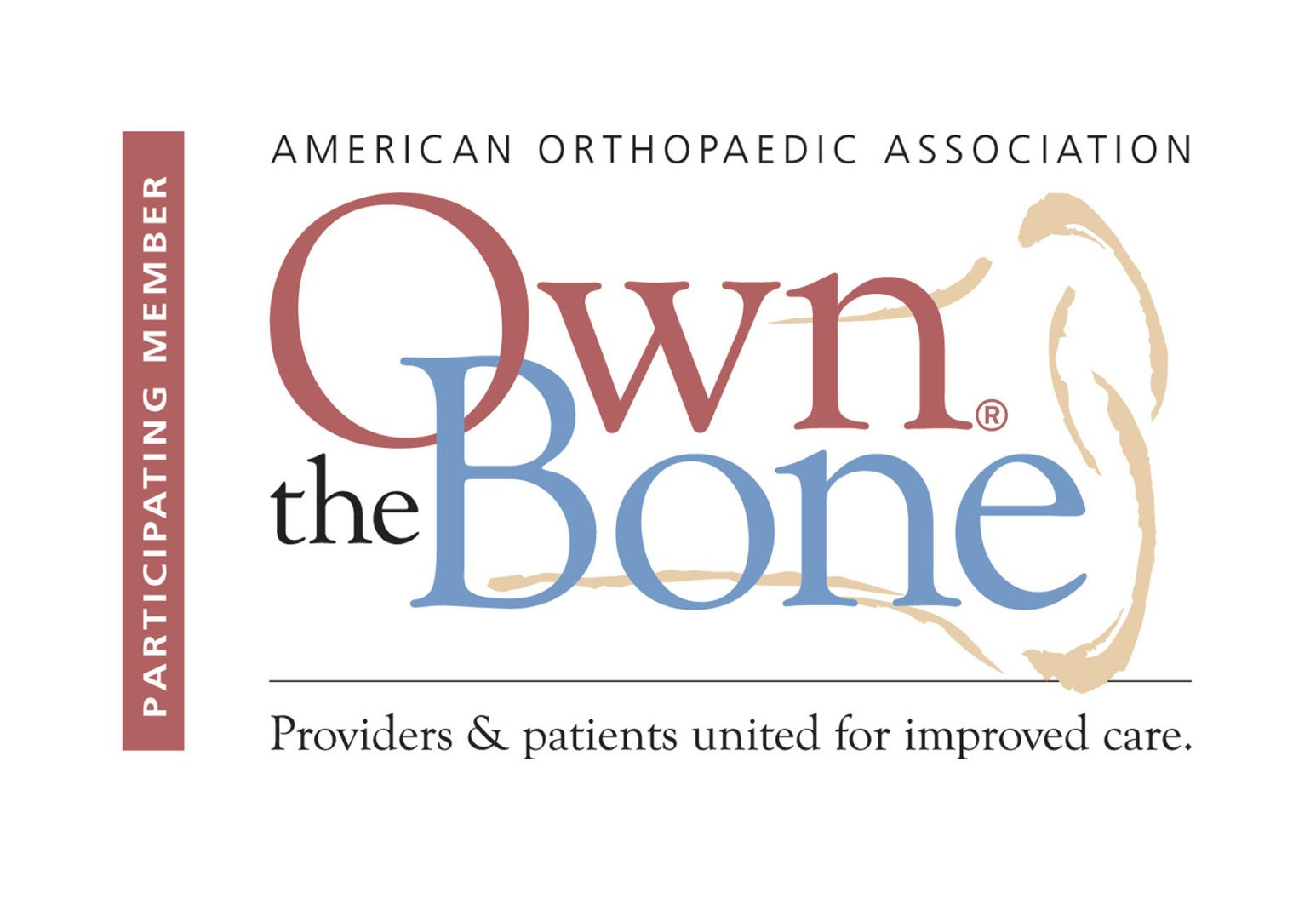 "Logo by the American Orthopaedic Assocation where ""Own the Bone"" is displayed in red and blue letters. Under that it says, ""Providers and patients united for improved care."""