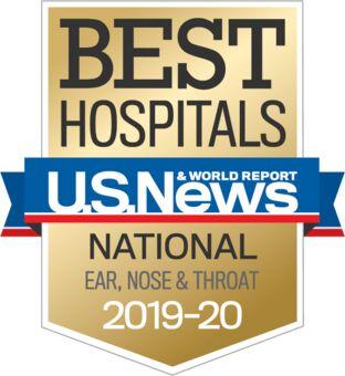 U.S. News & World Report Best Hospital 2019-20 ENT badge