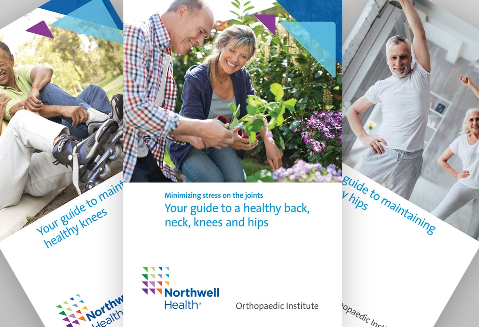 Three Northwell Health ebooks are displayed. One is a guide to a healthy back, neck, knees and hips with a photo of a couple gardening together and two others are displayed behind it.