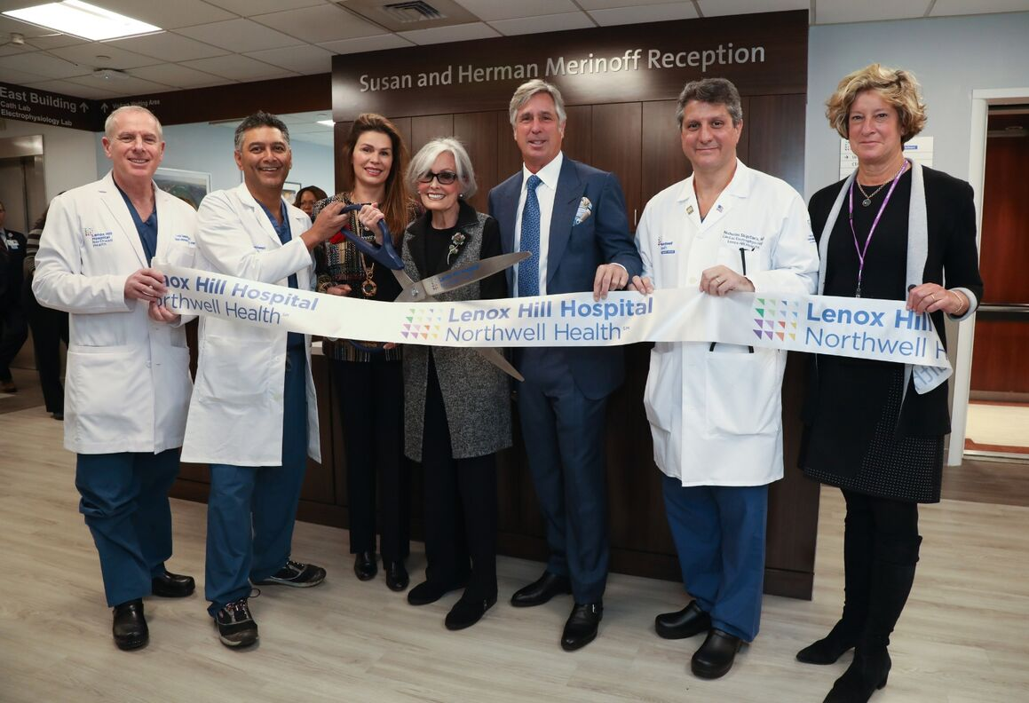 At the ribbon-cutting to open Lenox Hill's new Heart Rhythm Center: S. Jacob Scheinerman, MD, Varinder Singh, MD, Mrs. Susan Merinoff and family, Nicholas Skipitaris, MD,  Jill Kalman, MD
