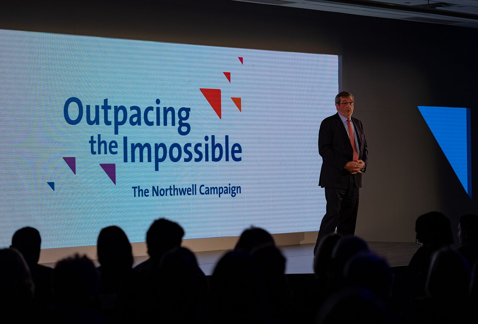Michael J. Dowling announces Northwell's $1B Outpacing the Impossible fundraising campaign at the October 2018 event launch.