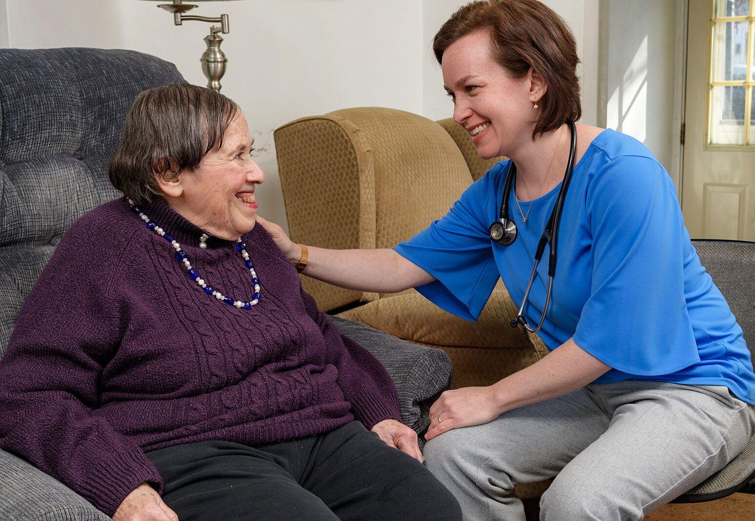 Dr. Karen Abrashkin, medical director of Northwell's House Calls program, greets her patient Rose Katz, 83, in her home.