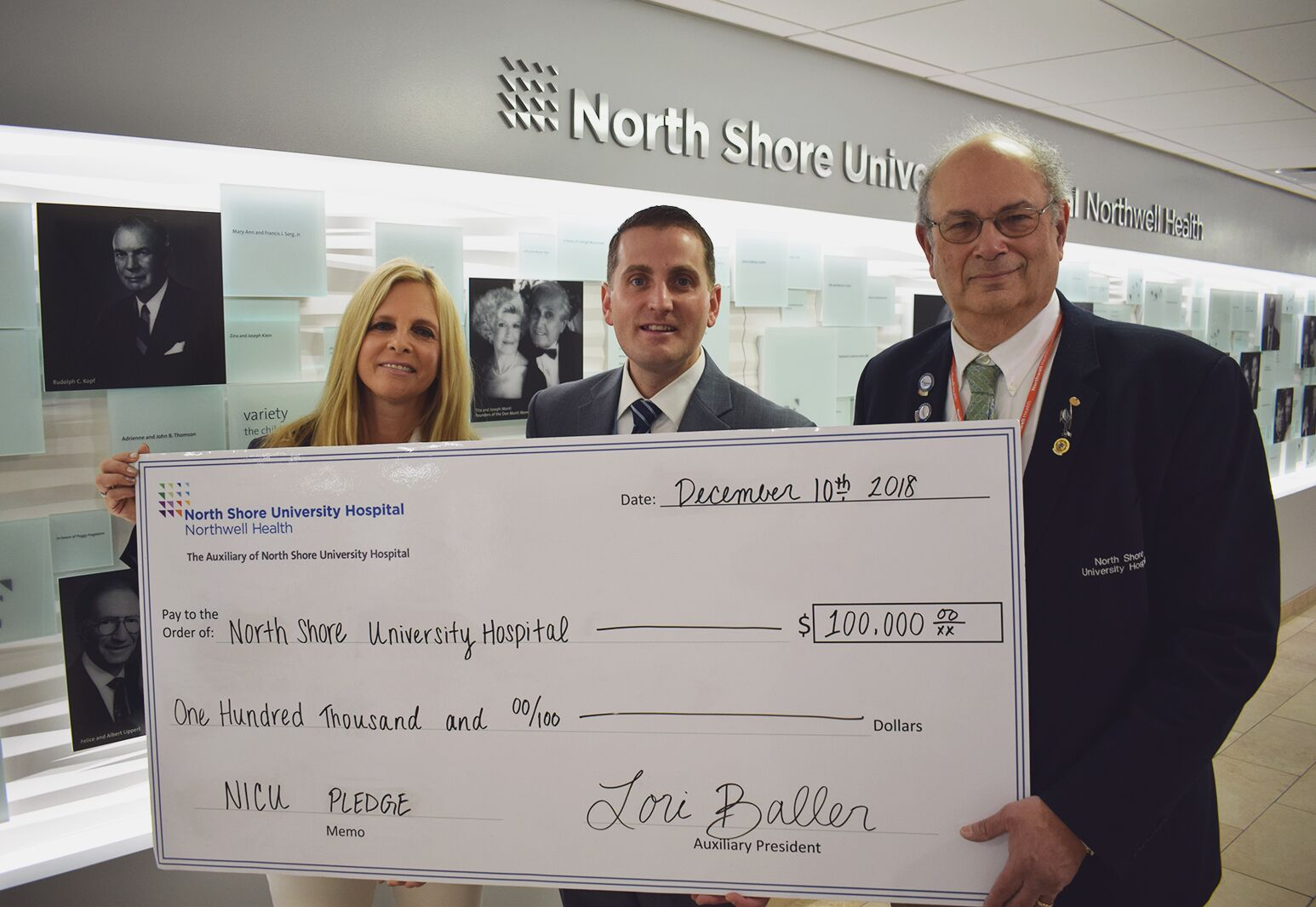 Auxiliary of North Shore University Hospital donation