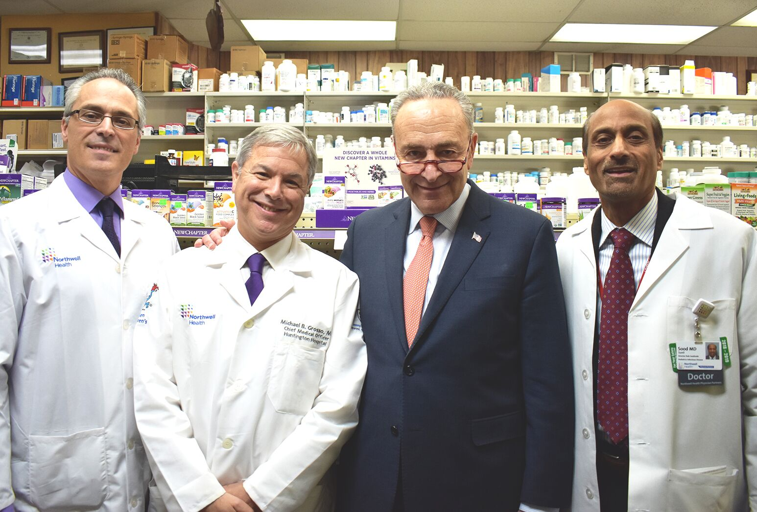 From left: Northwell Health pharmacist Julio Viola, Dr. Michael Grosso, Senator Charles Schumer and Dr. Sunil Sood.