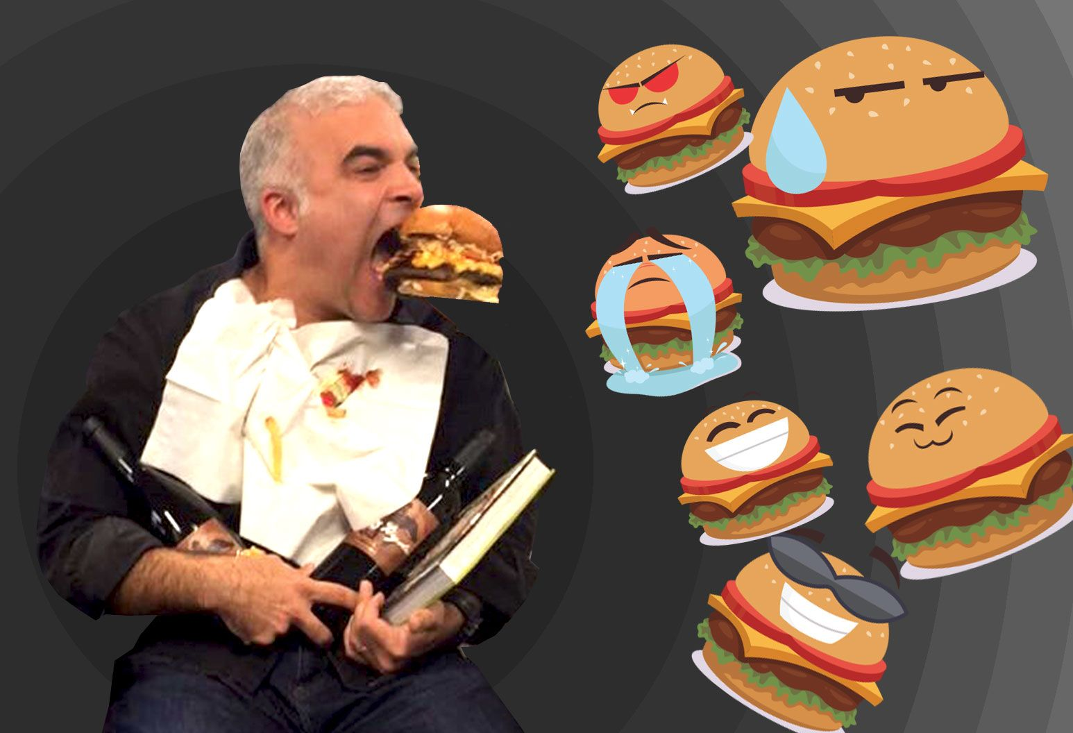 A man with short white hair holds wine bottles and a book while trying to catch a hamburger with his mouth. Surrounding him are burgers with various facial expressions on them.