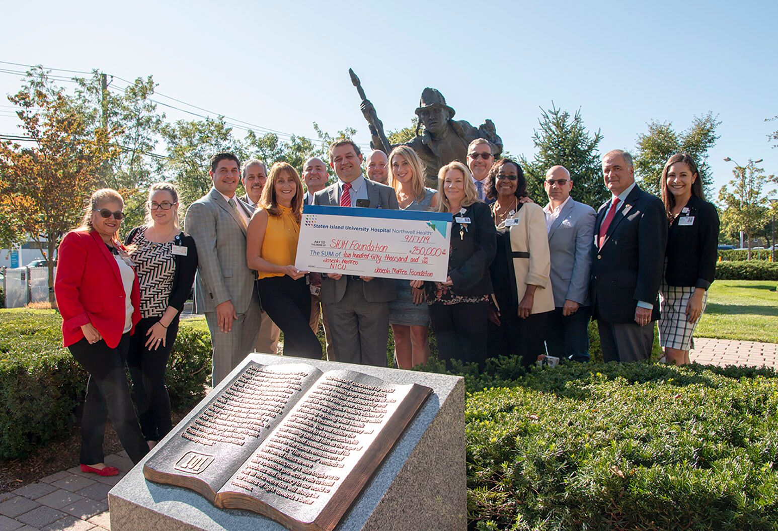 The Joseph Maffeo Foundation presented a check for $250,000 for a new NICU at Staten Island University Hospital.