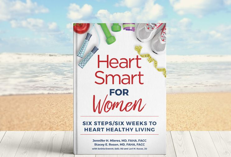 Heart Smart for Women book is shown with beach background. Book subheading says Six Steps/Six Weeks to Heart Healthy Living.