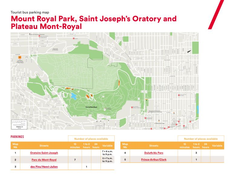 Tour bus parking maps | Tourisme Montréal Toolkit Du Parking Map on