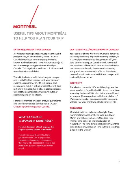 TOOL KIT FOR MEETING PLANNERS   Tourisme Montréal Toolkit