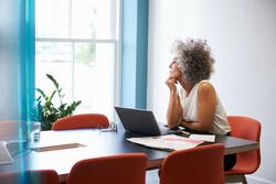 Sitting woman thinking