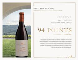 2018 Robert Mondavi Winery Napa Valley Reserve Pinot Noir, Carneros Hot Sheet Jeb Dunnuck August 2021 94 Points