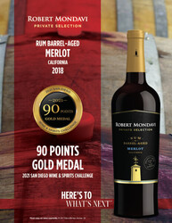 2018 Robert Mondavi Private Selection RBA Merlot Hot Sheet 2020 Monterey International Wine Competition 90 Points Gold Medal