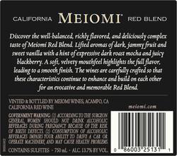 Meiomi Red Blend 750ml Back Label