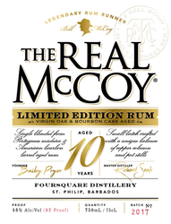 The Real McCoy® Limited Edition 10 Year Virgin Oak & Bourbon Cask Aged Rum, 750ml 92 Proof Front Label