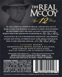 The Real McCoy® 12 Year Single Blended Aged Rum 750ml 80 Proof Back Label