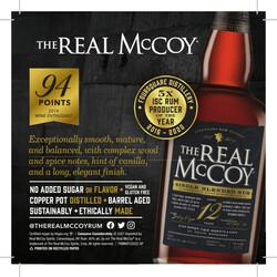 The Real McCoy 12 Year Rum Spring FY22 Shelf Talker