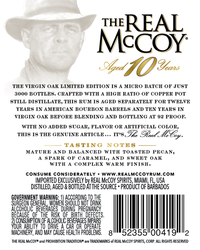 The Real McCoy® Limited Edition 10 Year Virgin Oak & Bourbon Cask Aged Rum, 750ml 92 Proof Back Label
