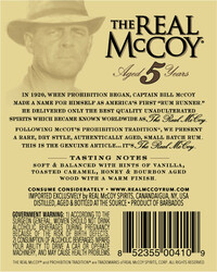 The Real McCoy® Distiller's Proof 5 Year Single Blended Aged Rum 750ml 92 Proof Front Label
