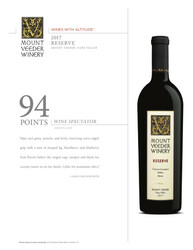 2017 Mount Veeder Winery Reserve Hot Sheet Wine Spectator 94 Points