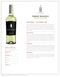 Robert Mondavi Private Selection 2020 Pinot Grigio NSRP Tasting Note