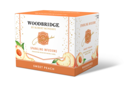 Woodbridge Sparkling Infusions Sweet Peach 750ml Bottle 12pk Left Facing Shipper Image