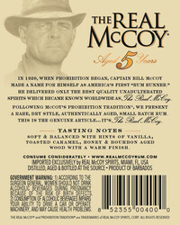 The Real McCoy® 5 Year Single Blended Aged Rum 750ml 80 Proof Back Label