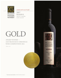 2017 Mount Veeder Winery Reserve Hot Sheet San Francisco Chronicle Wine Competition 2021 Gold