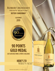 2019 Robert Mondavi Private Selection Buttery Chardonnay 1.5L Box Hot Sheet 2021 San Diego Wine & Spirits Challenge 90 Points Gold Medal